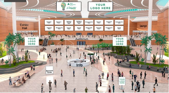 Junior Achievement of North Central Ohio is hosting a virtual career fair March 10. Here's what the online lobby will look like when area students join the virtual event. They will have a chance to visit with area businesses and companies and explore career options.