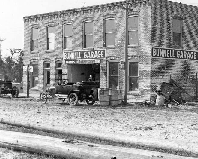 The Bunnell Garage was on Bay Street between Moody Boulevard and Lambert Street. This photo was taken around 1912. The garage was demolished in the early 1930s.