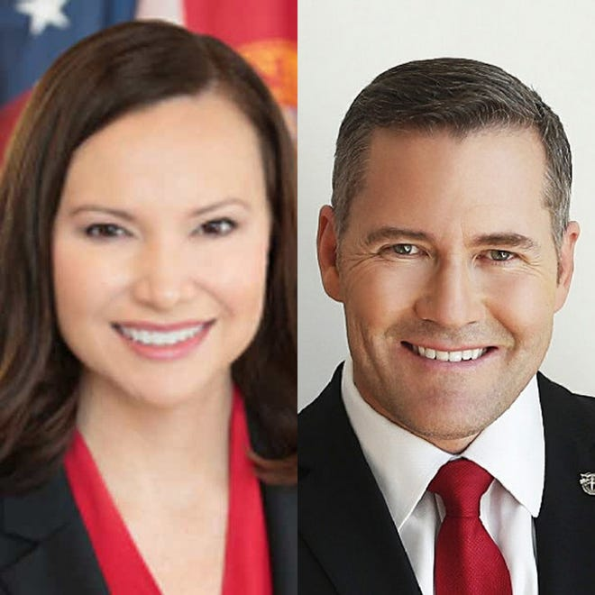 Florida Attorney General Ashley Moody, left, and Congressman Michael Waltz have signed on in support of a lawsuit seeking to overturn presidential election results in four other states.