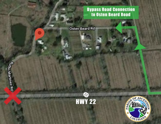 Ruffin Martinez Road, off of Hwy 22 in Darrow, will be closed temporarily beginning Dec. 17.