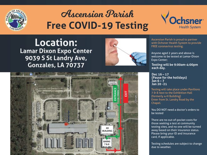 Ascension Parish and Ochnser Health System have partnered again for free coronavirus testing.