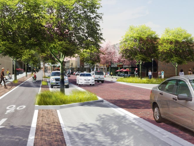 An artist rendering shows early plans for the new Design of Main Street in Denison. The city is prepared to invest $16.83 million in the first phase of improvements.