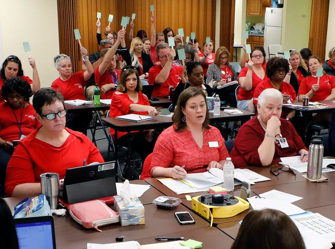 """The state legislature this year provided funding for increasing starting teacher pay to $47,500.The bill required districtstouse80% of the moneyto increase starting teacher pay""""to the maximum amount achievable,""""while 20% be divvied upamongveteran teachers.The PEA wants Polk County to follow the lead of Union County and bring all teachers making belowthe base pay up to the same level."""