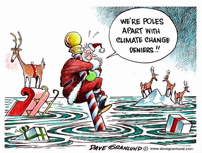 Dave Granlund cartoon on climate change and Santa