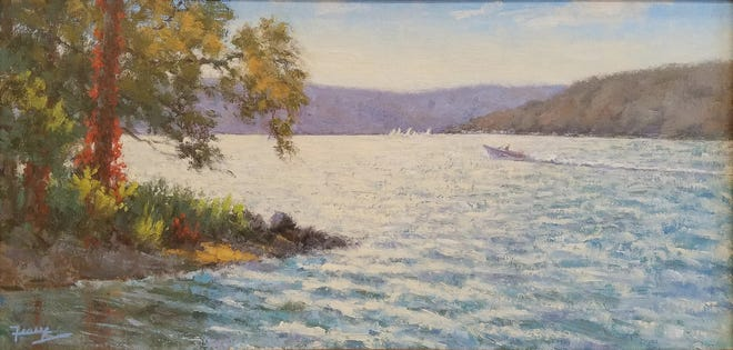 """""""Late September Regatta,"""" an oil work by Kevin Feary, will be featured at P. Tribastone Fine Art Gallery during the Holiday Artist Showcase on Friday and Saturday in downtown Canandaigua."""