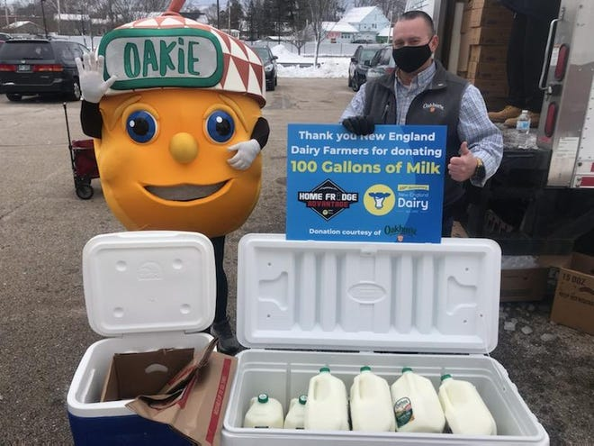 New England Dairy Farmers donated 100 gallons of milk to Gather on Tuesday in Rochester.