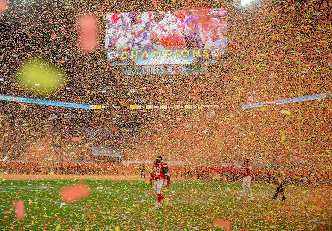 Confetti pours down on defensive tackle Khalen Saunders and the Chiefs after Super Bo wl LIV at Hard Rock Stadium one year ago Tuesday.