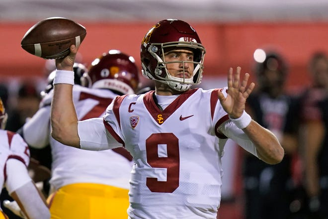 USC quarterback Kedon Slovis leads the Trojans against UCLA on Saturday. A USC win gives the Trojans the Pac-12 South Division title.