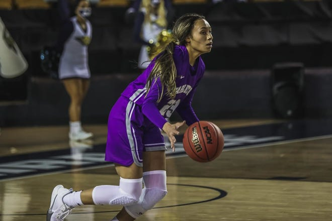 Tarleton's Alexa Hoy scored 14 of her game-high 17 points in the first half to keep the Texans' offense afloat. Hoy shot 50% (7-14) for the game.