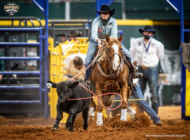 Stephenville cowgirl Martha Angelone had a strong second day at the inaugural Wrangler National Finals Breakaway Roping at Globe Life Field on Wednesday.  Angelone split the win in Round 7 (2.20 seconds) and won Round 8 outright with a 1.9-second run. She ended up taking overall runner-up honors in the event.
