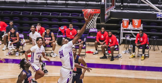 Tarleton's Heri Ngalamulumetallied a career-high 14 points with six rebounds, three blocks and four steals in Wednesday's win over Arlington Baptist in Wisdom Gym.