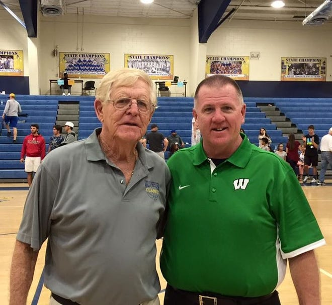 Wally Keller and Wethersfield coach Jeff Parsons stand together during the Wally Keller Classic at Charlotte High School in Punta Gorda, Florida in 2017.  Charlotte plans to attend the Wally Keller Invitational at Wethersfield High School in Kewanee during Thanksgiving week 2021.