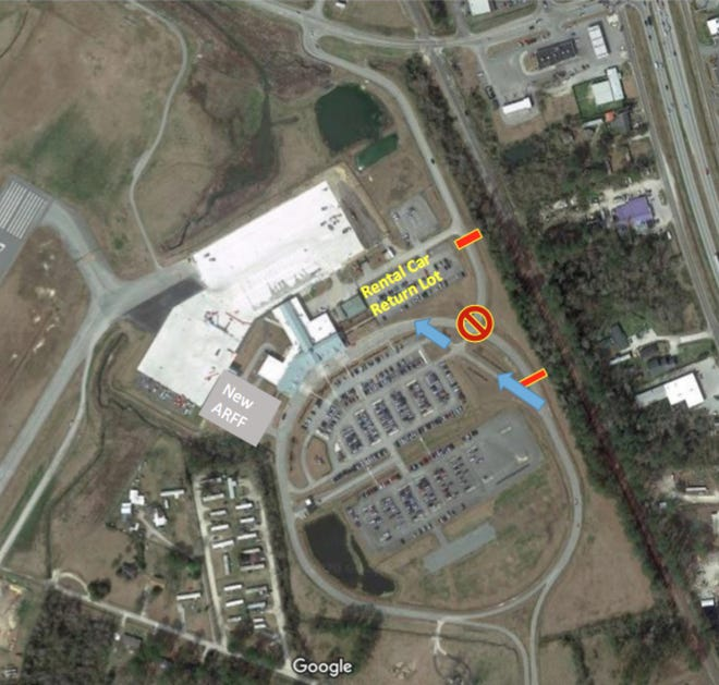 An overhead view of Coastal Carolina Regional Airport shows the new traffic patterns in place while NCDOT works to construct a roundabout at the intersection of Airline Drive and Terminal Drive. [TODD WETHERINGTON / SUN JOURNAL STAFF]