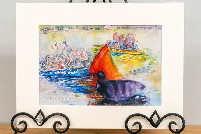 This print by New Bern artist, Bernice J Abraham features the Lickety Split and Ole Yeller rafts on the river with a red orange sail and a purple and black duck in the foreground. [CONTRIUTED PHOTO]
