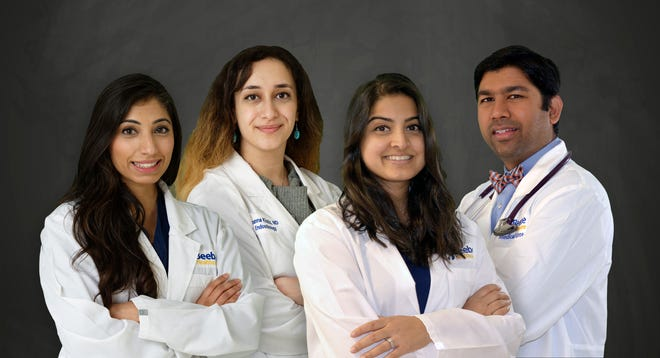 Beebe Medical Group welcomed four new specialists who are accepting patients at Beebe Endocrinology in Lewes and Millsboro. From left, Zulekha Karim, Joanna Khatib, Sonali Biligiri and Avinash Ravipati.