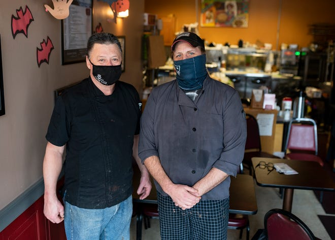 Bill Aldrich, left, co-owns Theatre Café, 529 Main St., Worcester, with Jeanette Harmsen. They have partnered with Jason Sheldon, right, to open Center Stage Bistro on Main Street, across from The Hanover Theatre. The pandemic has put the bistro's opening on hold but the menu is available for takeout and delivery.