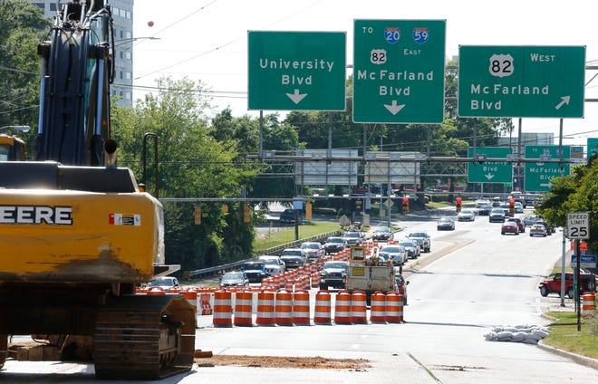 McFarland Boulevard under the University Boulevard bridge, seen here in a file photo from 2018, will be closed Sunday for pre-construction work in preparation for the replace of this bridge through a joint project between City Hall and the Alabama Department of Transportation. [Staff file photo/Gary Cosby Jr.]