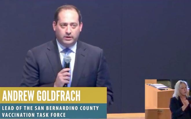 Andrew Goldfrach, leader of the San Bernardino County Vaccination Task Force, speaks during a press conference on Friday, Dec. 11, 2020.