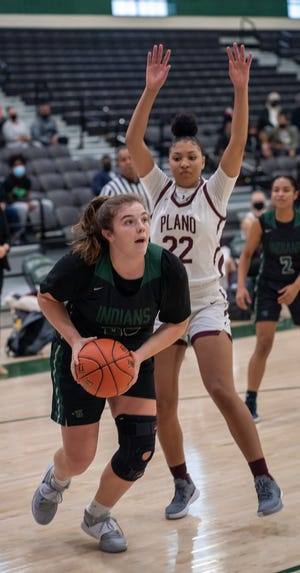 Waxahachie's Scout Burns makes a move to the basket during a recent home game against Plano Senior High at Mike Turner Gymnasium. The Lady Indians suffered their fourth loss of the season by a margin of five points or less, falling to Plano John Paul II, 50-46.