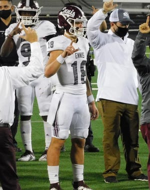 Ennis quarterback Collin Drake (18) is one of three Ellis County student-athletes who have been named to the Elite Team, the highest honor, on the Texas High School Coaches Association's fall Academic All-State teams. Also named were Midlothian's Max Allen (football) and Waxahachie's Mariel Camargo (cross country).