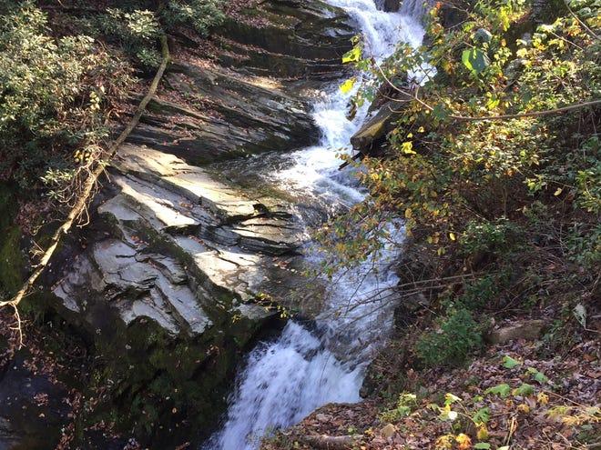 The smaller falls at Catawba Falls