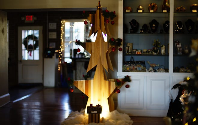 A wooden Christmas tree design in the lobby of the Monte Vista Hotel on Dec. 11, 2020.
