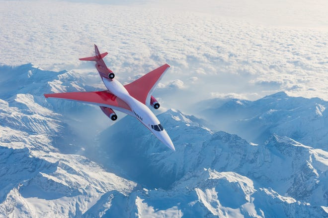 This rendering shows Aerion Supersonic's AS2 jet, which will be manufactured at Orlando Melbourne International Airport.
