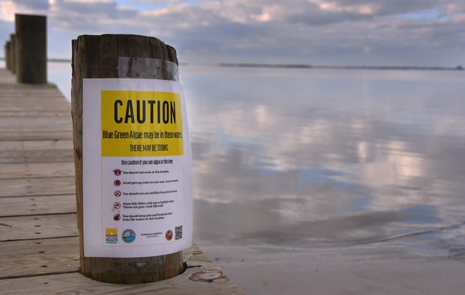 On Frida (Dec. 11, 2020) Warning sign at Constitution Bicentennial Park on 520 in Cocoa Beach warned about blue green algae.