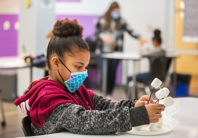 London Williams, then a third-grader at Rosa Parks Elementary in Middletown, builds a fort out of marshmallows in December 2020. A new bill would ban mask mandates at public schools and universities.