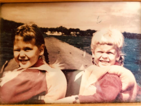Christine Jensen (left) and her twin sister Andrea Jensen (right) at Lake Okoboji in 1958.