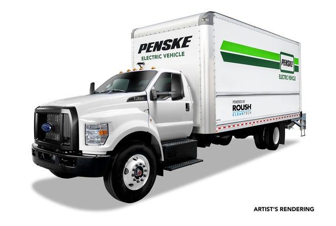 Roush mounts electric motor and battery between the frame rails of a Ford F-650