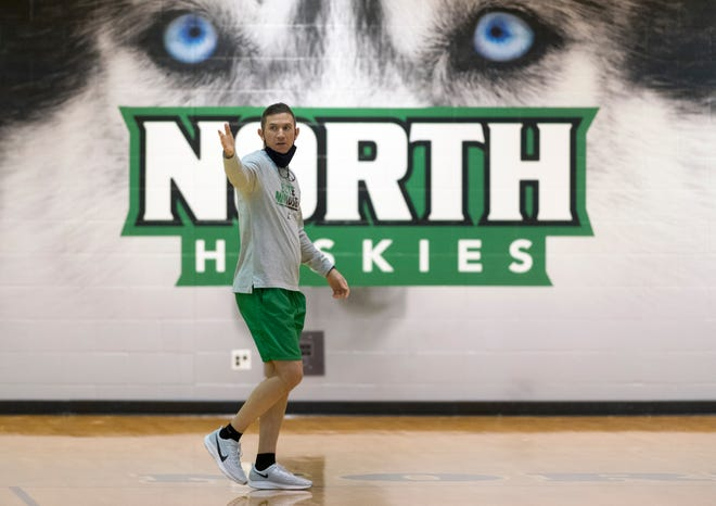 North Huskies girls basketball head coach Tyler Choate gives direction during a practice Thursday afternoon, Dec. 10, 2020.