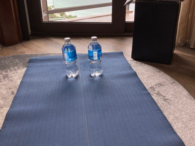 I didn't have many options for weight workouts, so when an exercise called for hand weights, I used 16-ounce water bottles and increased the reps.
