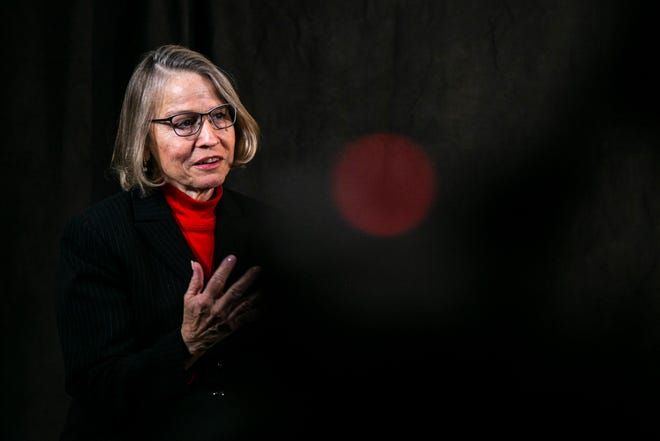 Republican Mariannette Miller-Meeks speaks during an interview, Friday, Dec. 11, 2020, at the Press-Citizen office in Iowa City, Iowa.