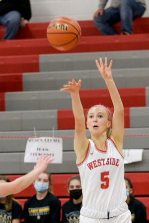 West Lafayette's Sarah Werth (5) shoots during the first quarter of an IHSAA girls basketball game, Thursday, Dec. 10, 2020 in West Lafayette.