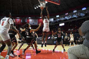 Charles Bassey goes up for a shot in the paint for Western Kentucky against Gardner-Webb.