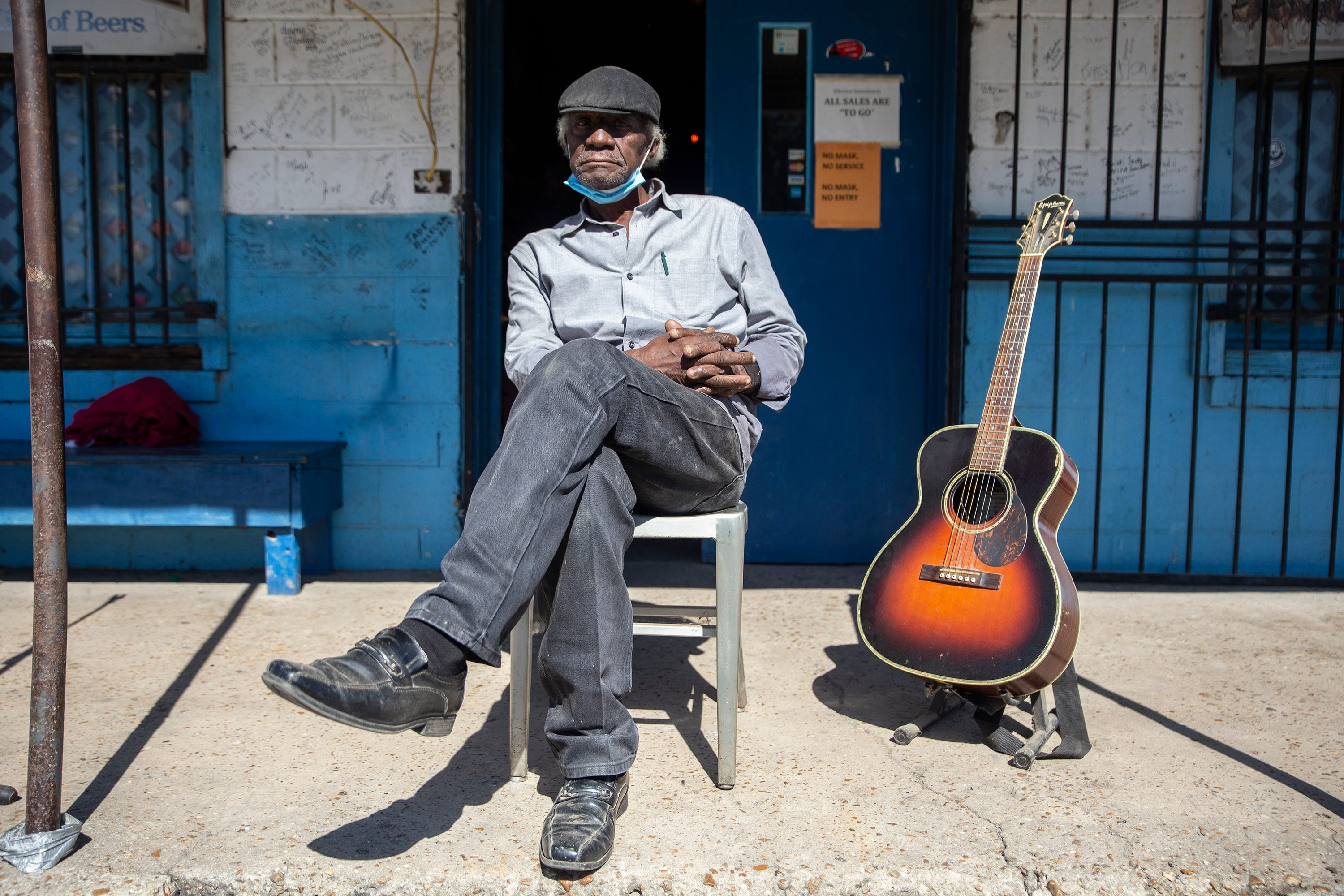 """Jimmy """"Duck"""" Holmes is photographed at the Blue Front Café in Bentonia, Miss., Tuesday, Sept. 29, 2020."""