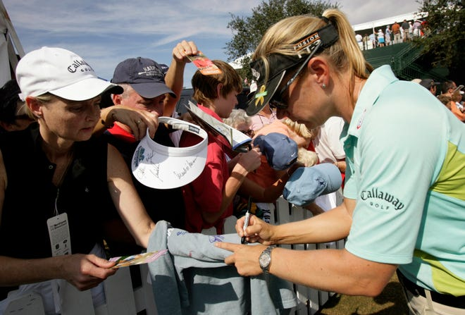 Annika Sorenstam signs autographs after finishing the final round of the Merrill Lynch Shootout at Tiburon Golf Club in 2006. She became the first woman to play in the Shootout.