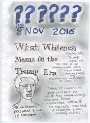 """A page from """"American Whiteness Since Trump,"""" an artist's book created by Nell Painter, that defines whiteness as it's seen during the Trump presidency."""