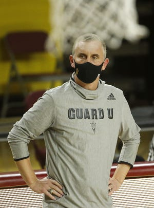 ASU's head coach Bobby Hurley watches his team play against San Diego State during the second half at Desert Financial Arena in Tempe, Ariz. on Dec. 10, 2020.