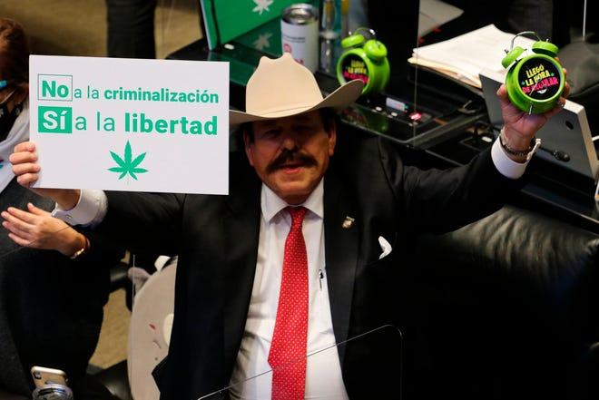 Fotografía del 19 de noviembre de 2020 del senador mexicano Armando Guadiana celebrando la aprobación en mayoría del dictamen de la Ley Federal para la regulación del cannabis, así como la Ley General de Salud y el Código Penal Federal.