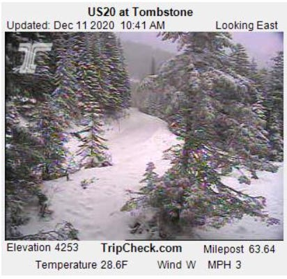 Snow fell on Tombstone Pass on Highway 20 on Friday.