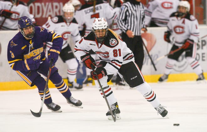 St. Cloud State junior Jenniina Nylund skates with the puck against MSU-Mankato Friday, Nov. 27, 2020, at Herb Brooks National Hockey Center.