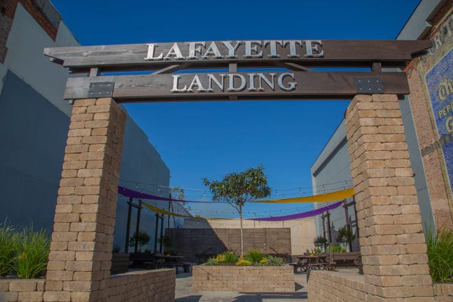 Lafayette Landing, a pocket park located in Marianna, Florida, replaces a building that was destroyed by Hurricane Michael in 2018.