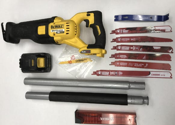 A set of burglary tools seized from a group of suspected thieves during an attempted catalytic converter theft in Oxnard.