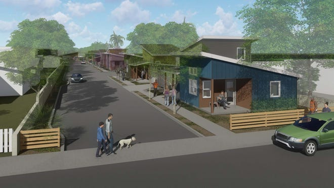 This rendering shows a proposed 28-unit tiny home community in Oxnard.