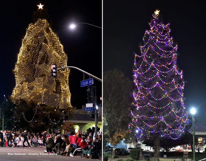 """Tulareans say they are proud of this year's Christmas tree, pictured at right, after 2019's """"janky"""" decorations, pictured left, caused the trimmings to go viral."""