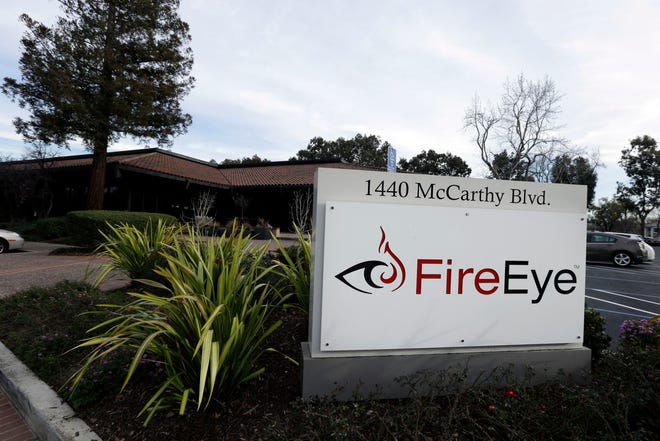 This Wednesday, Feb. 11, 2015 photo shows FireEye offices in Milpitas, Calif. The cybersecurity firm said Tuesday, Dec. 8, 2020 it was hacked by what it believes was a national government. The attacker targeted and stole assessment tools that FireEye uses to test its customers' security and which mimic the methods used by hackers, the company said.