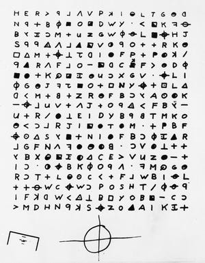 This is a file copy of a cryptogram sent to the San Francisco Chronicle in 1969 by the Zodiac Killer. A coded letter mailed to a San Francisco newspaper by the Zodiac serial killer in 1969 has been deciphered by a team of amateur sleuths from the United States, Australia and Belgium, the San Francisco Chronicle reported Friday, Dec. 11, 2020.