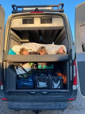7-year-old triplets Ian Gabe and Brandon Jorgensen on their road trip